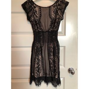 Boutique Black and Tan Lace Dress- NWOT- Size XS